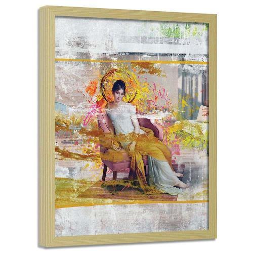 Feeby Tableau moderne Image encadrée déco cadre mural nature, Dame dans une chaise 40x60 cm