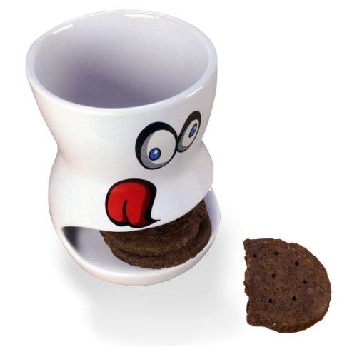 Tasse à compartiment range-biscuits mug en forme de bouche violet