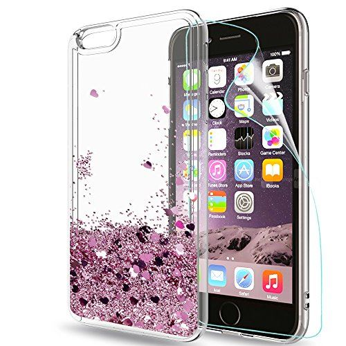 LeYi Coque iPhone 6 Plus 6S Plus Etui avec Film de Protection ecran Fille Personnalise Liquide Paillette Transparente 3D Silicone Gel Antichoc Kawaii Houe pour 6 Plus 6S Plus Or Rose