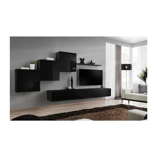 Ensemble meuble salon mural SWITCH X design, coloris noir brillant.