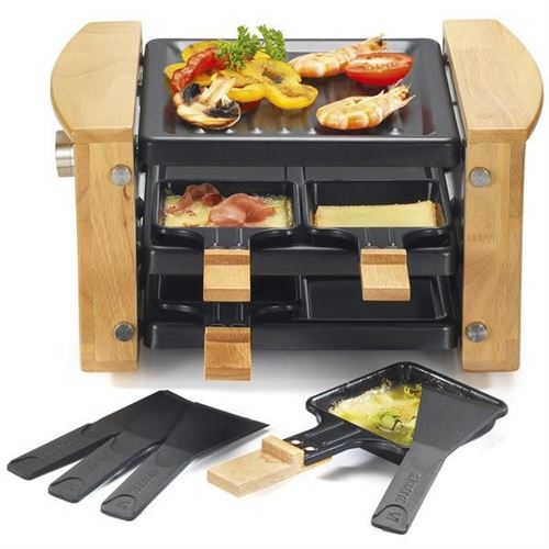 Raclette Gril 4p 650w Bois Range Poelons Kitchenchef - Kcwood4rp