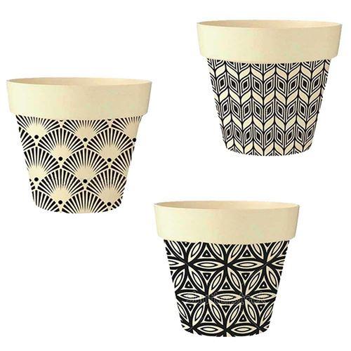 STC – Lot de 3 Pots de Fleurs en Bambou Ø 18,5 cm – Ethnik