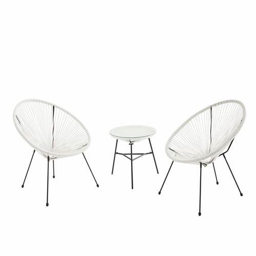 Lot de 2 fauteuils ACAPULCO forme d'oeuf avec table d'appoint - Blanc - Fauteuils 4 pieds design rétro avec table basse cordage plastique intérieur / extérieur