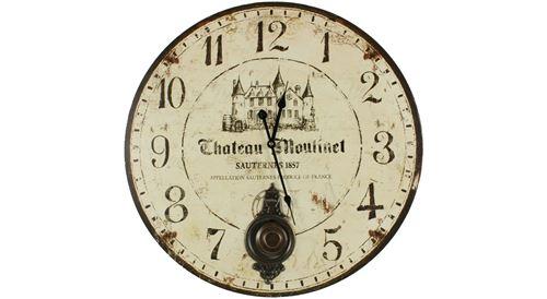 Horloge Ancienne Balancier Château Moulinet 58cm - Bois - Blanc - Décoration d'Autrefois