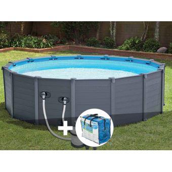 kit piscine tubulaire graphite 4 78 x 1 24 m b che bulles intex piscines hors sol. Black Bedroom Furniture Sets. Home Design Ideas