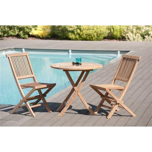 Salon de jardin en bois teck grade A, comprenant 1 table ronde pliante 80 cm et 1 lot de 2 chaises java