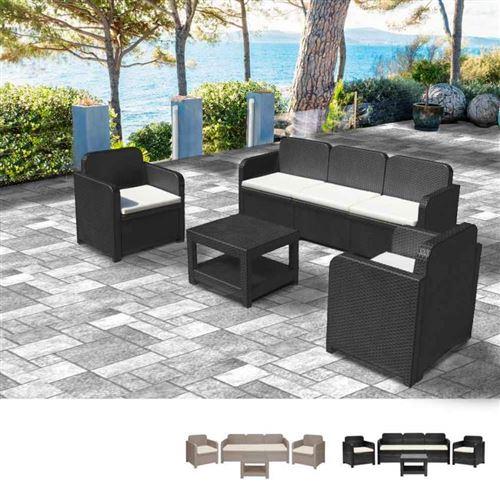 Salon de jardin Grand Soleil POSITANO en Poly-rotin Canapé table basse fauteuils 5 places pour extérieurs, Couleur: Noir