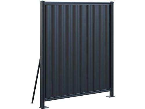 clôture acier claude - 158 x 180 cm - gris foncé