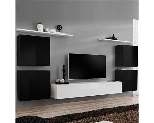 Meuble tv mural noir et blanc DONATELLO 2-L 320 x P 40 x H 150 cm- Noir