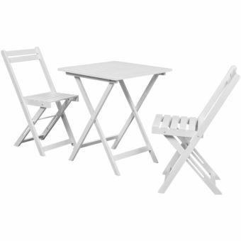 Casasmart - Table à manger avec deux chaises pour balcon Blanc bois ...