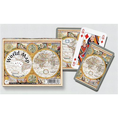 PIATNIK Coffret de 2 jeux de cartes WORLD MAP Multicolore