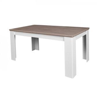 Dessy Table A Manger Extensible De 6 A 10 Personnes Contemporain Style Blanc Mat Et Decor Bois L 160 239 X L 90 Cm