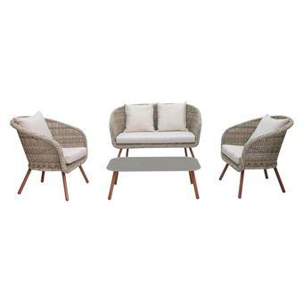 Salon bas 4 places en aluminium imitation bois et résine tressée ...