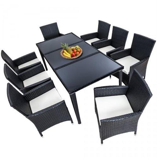Salon de jardin 8 chaises rotin résine tressé synthétique noir + coussins + housses
