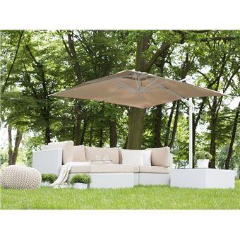 Parasol de jardin 2,5 m beige sable et blanc Monza