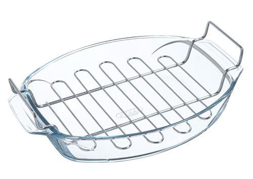 Plat à four Pyrex® Ovale en verre 39 x 27 cm + grille de cuisson, Irresistible