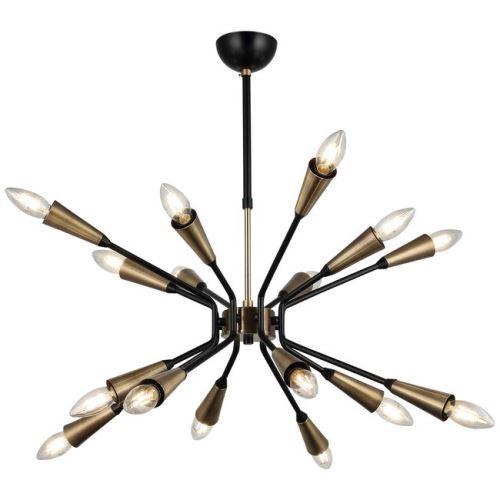 HOMEMANIA Lampe à Suspension Trapa - Lustre - Lustre de plafond - Or, noir en Métal, 64 x 64 x 75 cm, 16 x E27, Max 40W