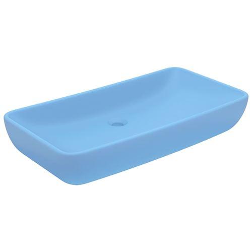 vidaXL Lavabo de luxe rectangulaire Bleu clair mat 71x38 cm Céramique