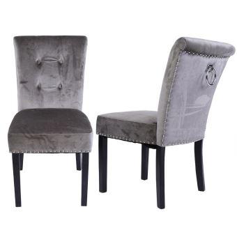 Lot de 2 chaises en tissu de velours gris , pied en bois massif
