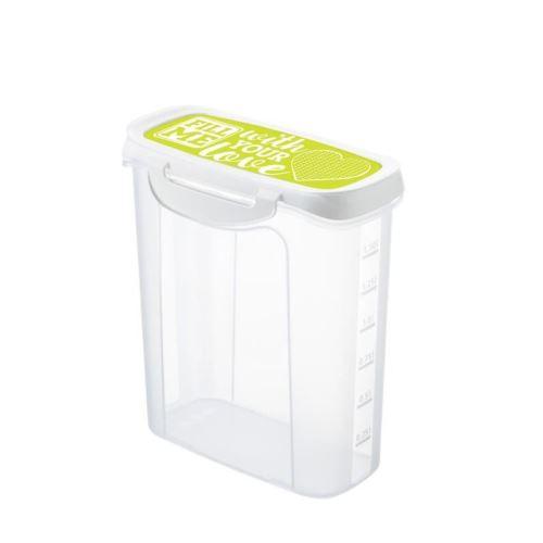 SUNDIS Boîte de conservation verseuse Clic & Lock Art 7497003 1,5L 16,9x9,8x20,2 cm lime et transparent