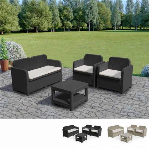 Salon de jardin Grand Soleil SORRENTO en Poly rotin table basse fauteuils pour exterieur 4 places, Couleur: Noir