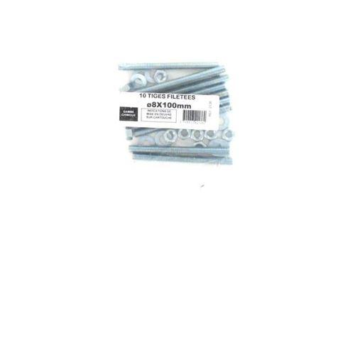 Pack de 10 Tiges Filetées M8 BATIFIX diamètre 8 x 100mm