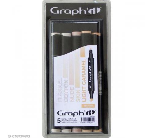 Set 5 Marqueurs à alcool Graph'it - Skin tones - Graph it