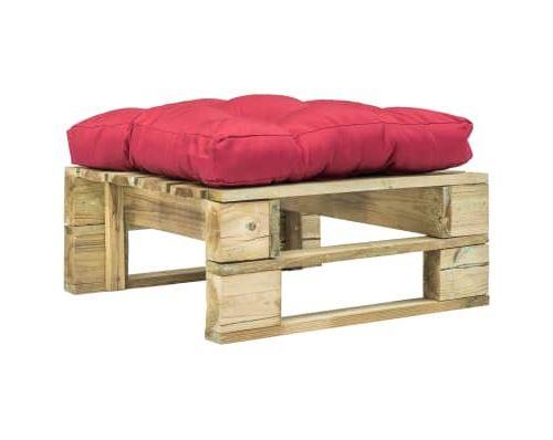 Repose-pied palette de jardin avec coussin rouge Bois vert FSC alsa