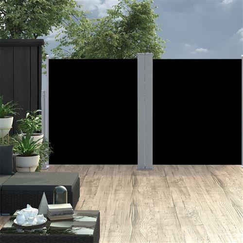 Auvent latéral double rétractable de patio 170x600 cm Noir