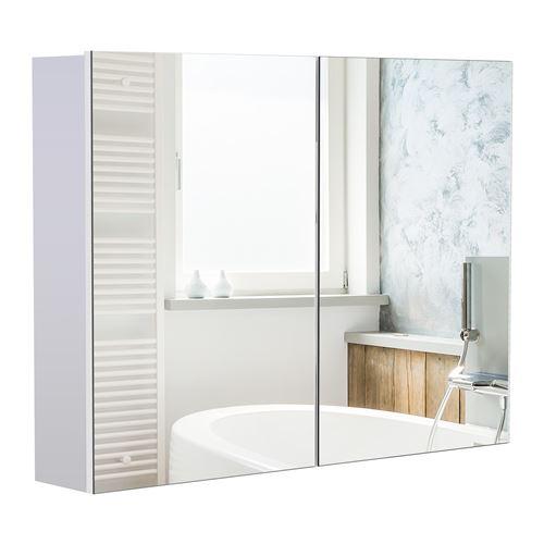 Armoire miroir de salle de bain armoire murale double portes et étagères dim. 80L x 15l x 60H cm MDF blanc