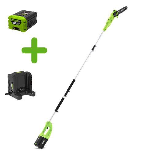 greenworks elagueuse électrique sur perche gd60psk2 - 60 v - 1 batterie + 1 chargeur - vert