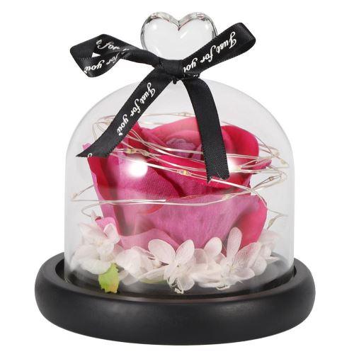 Cadeau De Saint Valentin Décoration Veilleuse Aimant Coeur En Verre Simulation Plastique Rose Fleur Lampe Led (Rose Red)