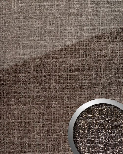Panneau mural aspect verre WallFace 20222 GRID Silver AR+ lisse Revêtement mural aspect textil très brillant auto-adhésif résistant à l'abrasion argent gris-argent 2,6 m2