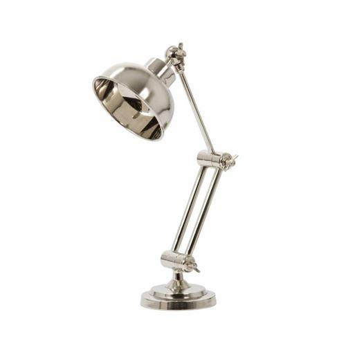L'Héritier Du Temps - Lampe electrique jefferson de bureau à poser luminaire de table en fer avec abat jour en métal chromé argent 12x30x37cm