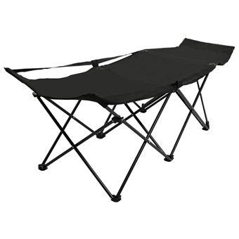 Chaise longue pliable Noir Acier 47765