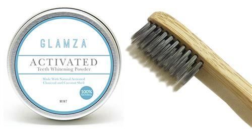 White First - Glamza + Brosse À Dent En Bambou - Poudre De Blanchiment Dentaire Au Charbon Actif