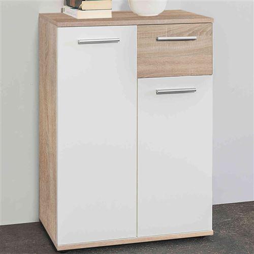 Commode 2 portes 1 tiroir en bois imitation chêne clair et blanc - CO7104