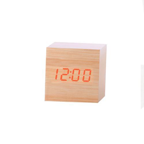 Nouveau Led Numérique en Bois Moderne en Bois Bureau Réveil Thermomètre Calendrier Minuterie Orange PL207
