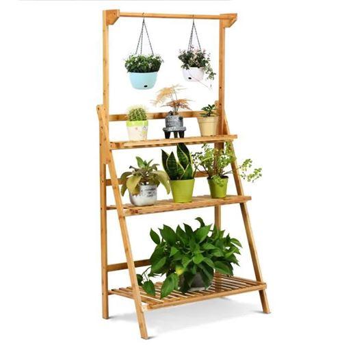 étagère giantex pliables 70×40×120-144 cm pour plantes / fleurs, 3 niveaux de rangement pour jardin,balcon, bureau,patio, pelouse
