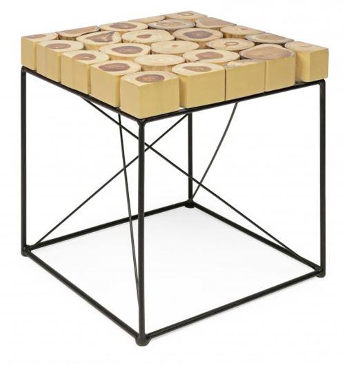 Table basse en bois de teck coloris noir - Dim : L 41 x P 41 x H 47cm -PEGANE-