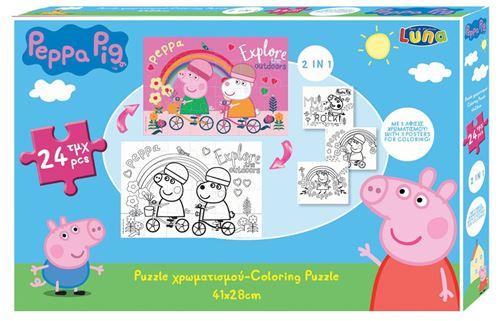 Luna puzzle en couleurs 2-en-1 Peppa Pig filles 41 x 28 cm 4-pièces