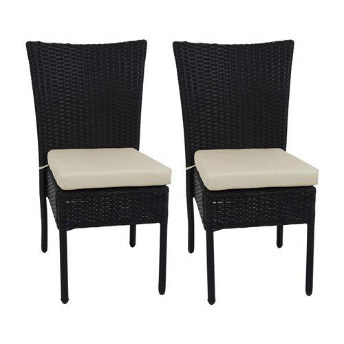 2x Fauteuil en polyrotin HWC-G19, chaise pour jardin ou balcon, empilable ~ noir, coussin crème