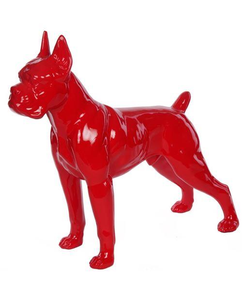 Statue en résine CHIEN boxer rouge - Arthur - 52 cm