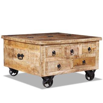 Vidaxl Table Basse Bois De Manguier Brut 70 X 70 X 40 Cm Achat Prix Fnac