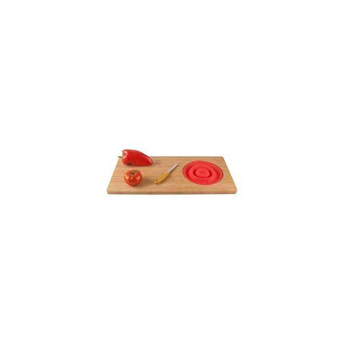 JOCCA - 1633 - Planche a découper bambou avec passoire - Rouge