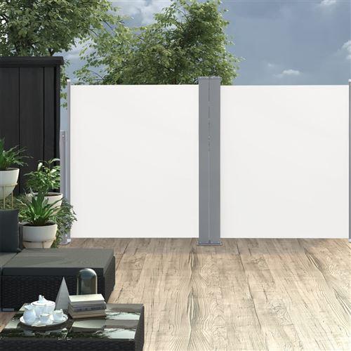 Auvent latéral double rétractable de patio 170x600 cm Crème