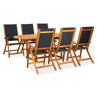 vidaXL Meuble de jardin 7 pcs Table extensible Pliable Bois d\'acacia