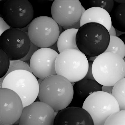 Sac de 100 balles de jeu ou de piscine diamètre 5,5 cm indéformables + Filet de rangement - Noir gris blanc