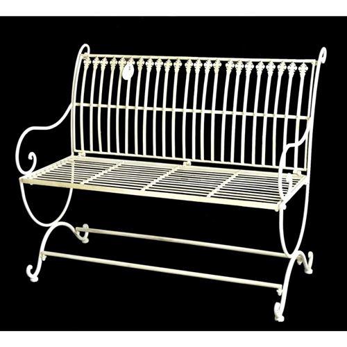 L'Héritier Du Temps - Banc de jardin banquette en fer blanc 2 places personnes fauteuil de jardin mobilier de qualité 55x84x103cm