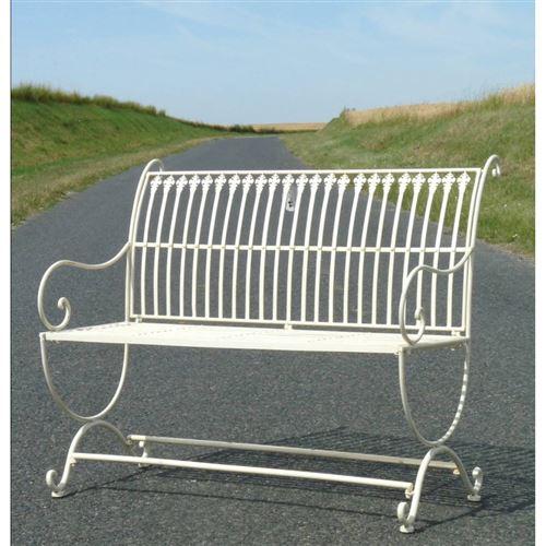 L\'Héritier Du Temps - Banc de jardin banquette en fer blanc 2 places  personnes fauteuil de jardin mobilier de qualité 55x84x103cm